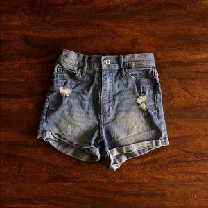 High waisted light wash jean shorts